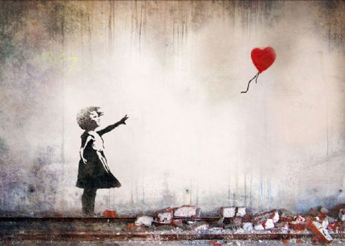 BANKSY - Heart balloon girl mural wall canvas print - self adhesive poster - photo print